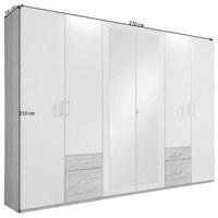 KLEIDERSCHRANK in Graphitfarben, Weiß - Silberfarben/Graphitfarben, Design, Glas/Holzwerkstoff (270/210/58cm) - Carryhome