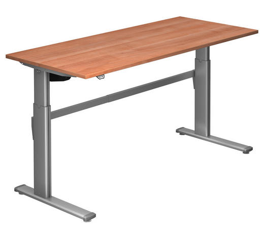 SCHREIBTISCH - Silberfarben/Nussbaumfarben, Design, Holzwerkstoff/Metall (180/72-119/80cm)