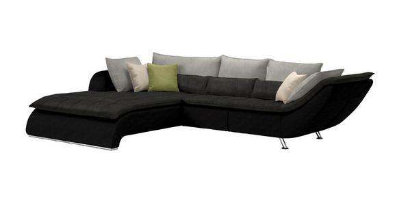 WOHNLANDSCHAFT in Textil Grau, Schwarz - Chromfarben/Dunkelgrau, Design, Textil/Metall (220/300cm) - Hom`in