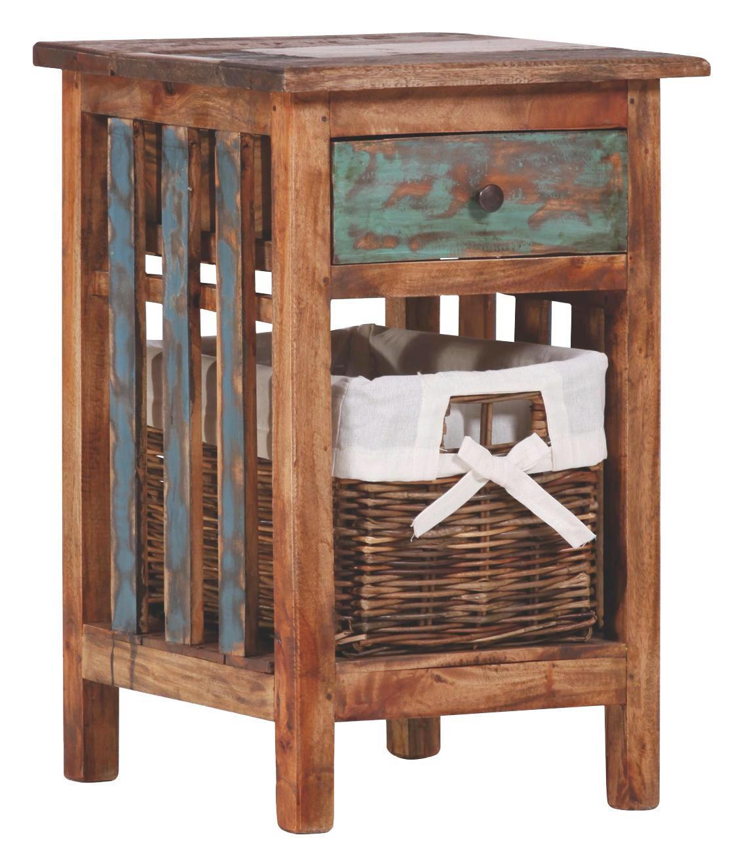 REGAL Altholz Multicolor - Multicolor, Design, Holz/Textil (42/60/40cm)
