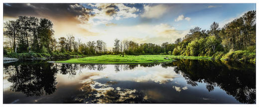 Bäume, Landschaft & Natur, Wasser GLASBILD - Multicolor, Basics, Glas (125/50cm)