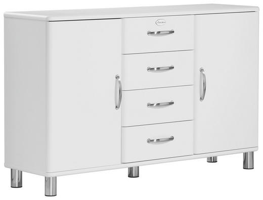 SIDEBOARD lackiert, Melamin Weiß - Weiß/Nickelfarben, Design, Holzwerkstoff/Metall (146/92/41cm) - CARRYHOME