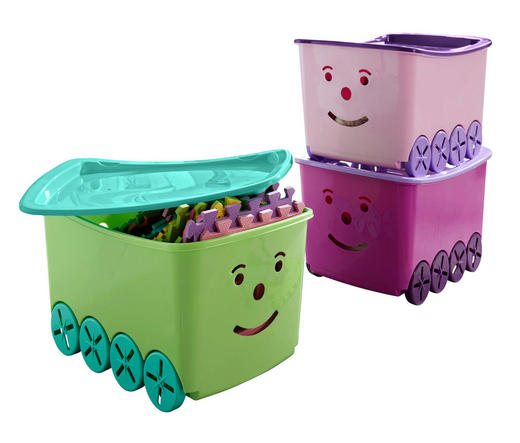 BOX MIT DECKEL 58/40/33 cm - Multicolor, Basics, Kunststoff (58/40/33cm) - Plast 1