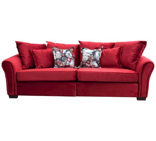BIGSOFA in Textil Rot - Wengefarben/Rot, Trend, Holz/Textil (250/110/89cm)