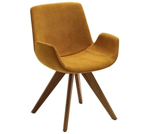 STUHL in Textil Gelb, Eichefarben - Eichefarben/Gelb, Design, Holz/Textil (63/86/57cm) - Valdera