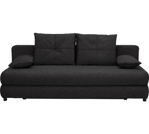 SCHLAFSOFA in Textil Anthrazit - Anthrazit/Schwarz, Design, Kunststoff/Textil (208/73-90/102cm) - Hom`in