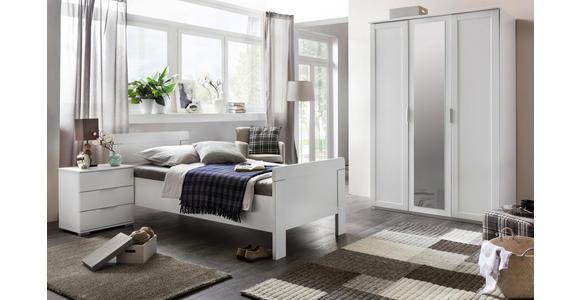 DREHTÜRENSCHRANK in Weiß  - Silberfarben/Weiß, KONVENTIONELL, Glas/Holzwerkstoff (135/210/58cm) - Cantus