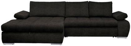 WOHNLANDSCHAFT in Textil Dunkelbraun  - Chromfarben/Dunkelbraun, Design, Kunststoff/Textil (173/294cm) - Carryhome