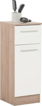 SPODNJA OMARICA 30/81/33 cm - hrast/bela, Design, kovina/leseni material (30/81/33cm) - Xora