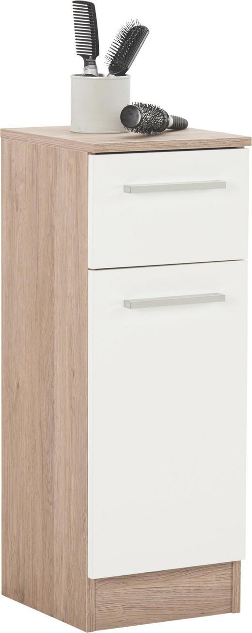 UNTERSCHRANK Weiß - Chromfarben/Eichefarben, Design, Holzwerkstoff/Metall (30/81/33cm) - Carryhome