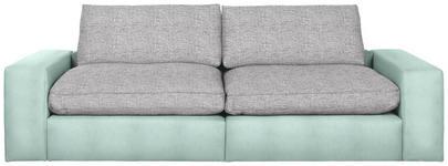 MEGASOFA in Textil Hellgrau, Türkis - Türkis/Hellgrau, Design, Kunststoff/Textil (266/84/123cm) - Hom`in