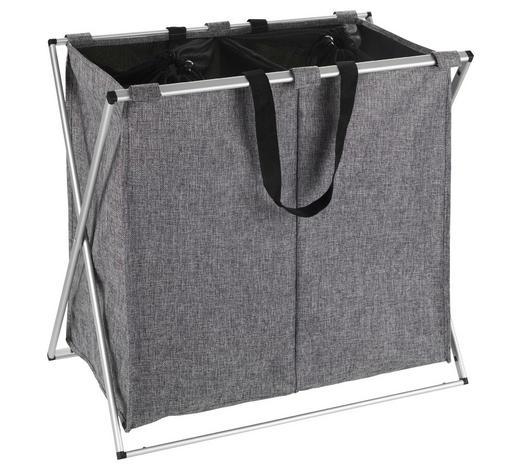 KOŠ NA PRÁDLO, šedá, barvy hliníku - šedá/barvy hliníku, Basics, kov/textil (59/57/38cm)