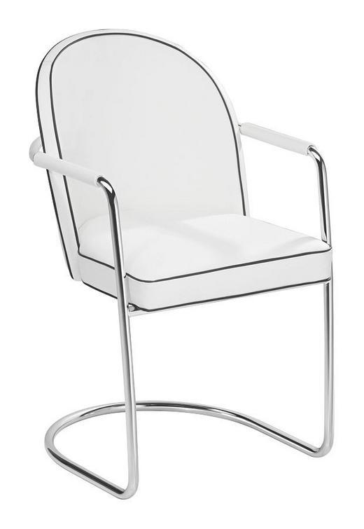 ARMLEHNSTUHL Echtleder Chromfarben, Weiß - Chromfarben/Weiß, Design, Leder/Metall (58/86/57cm)
