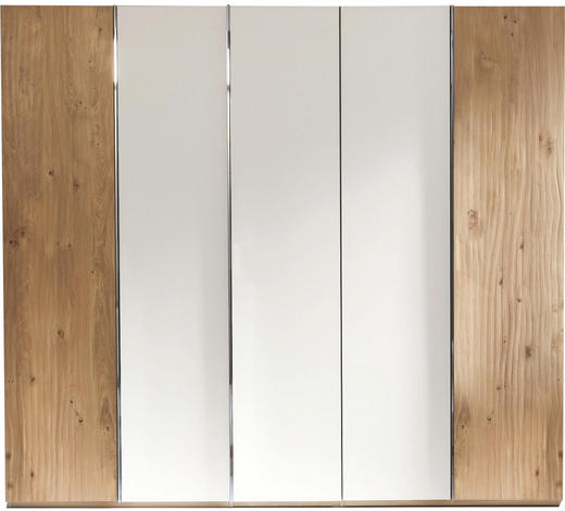 DREHTÜRENSCHRANK in massiv Eiche Weiß, Eichefarben - Chromfarben/Eichefarben, Design, Glas/Holz (249,6/222,3/57cm) - Valdera