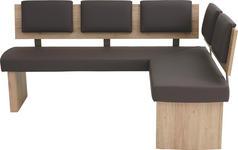 ECKBANK in Holzwerkstoff, Textil Braun, Eichefarben, Sandfarben - Sandfarben/Eichefarben, KONVENTIONELL, Holzwerkstoff/Textil (180/140cm) - Cantus