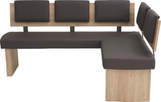 ECKBANK Lederlook Braun, Eichefarben, Sandfarben - Sandfarben/Eichefarben, Natur, Holzwerkstoff/Textil (180/140cm) - Cantus