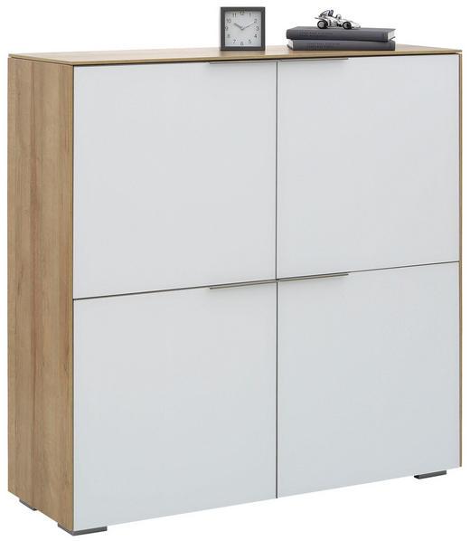 AKTENSCHRANK Eichefarben, Weiß - Eichefarben/Weiß, Design, Glas/Holzwerkstoff (112,6/114/37,2cm) - Voleo