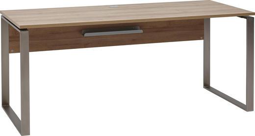 SCHREIBTISCH Eichefarben - Eichefarben/Nickelfarben, Design, Metall (180/76/76cm) - Voleo
