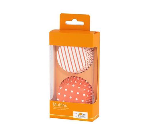 PAPIERFÖRMCHEN - Orange/Weiß, Basics, Papier (7cm) - Birkmann