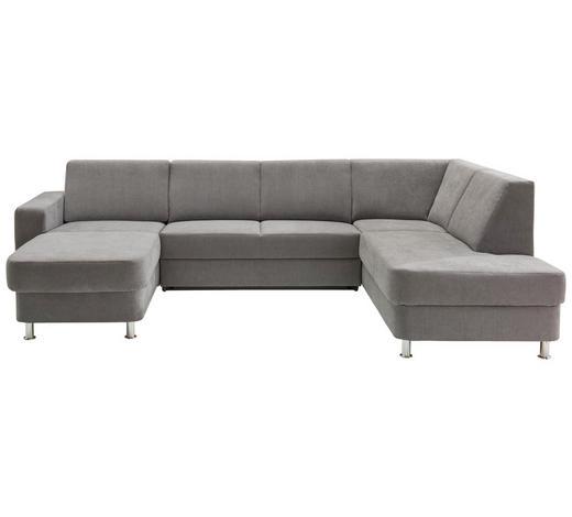 SEDEŽNA GARNITURA,  siva tekstil  - siva/krom, Design, umetna masa/tekstil (165/301/198cm) - Xora