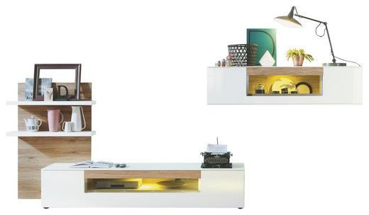 ANBAUWAND Eichefarben, Weiß - Eichefarben/Schwarz, Design, Glas/Kunststoff (285/196/50cm) - SET ONE BY MUSTERRIN