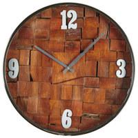 Wanduhr 41 cm - Silberfarben/Naturfarben, Basics, Glas/Holz (41cm) - Ambia Home