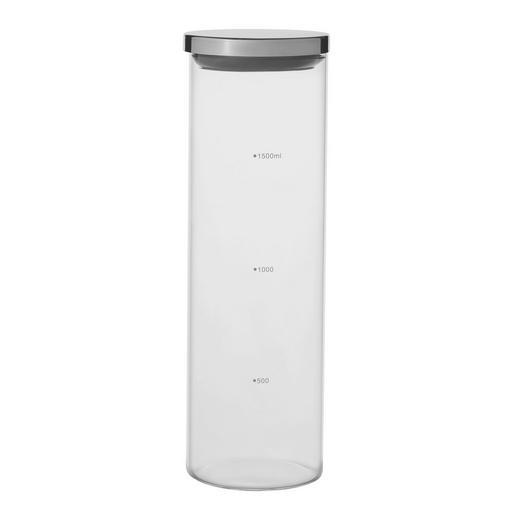 VORRATSGLAS 2,0 L - Klar/Silberfarben, Basics, Glas/Kunststoff (9/31cm) - Homeware