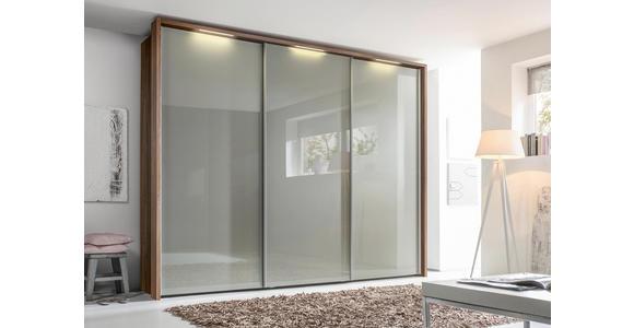 SCHWEBETÜRENSCHRANK 3-türig Fango, Nussbaumfarben - Chromfarben/Fango, Design, Glas/Holzwerkstoff (270/223/69cm) - Dieter Knoll