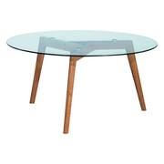 KONFERENČNÍ STOLEK - barvy dubu/čiré, Design, dřevo/sklo (90/90/45cm) - Carryhome