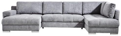 WOHNLANDSCHAFT Grau Mikrofaser  - Chromfarben/Silberfarben, Design, Kunststoff/Textil (179/346/212cm) - Hom`in