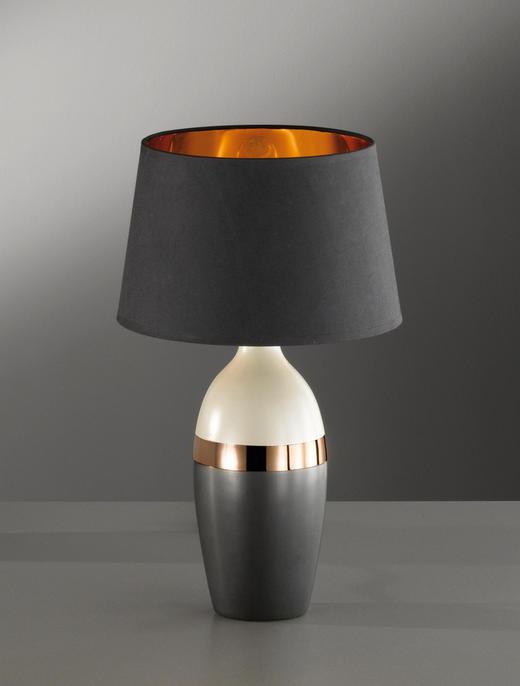 TISCHLEUCHTE - Schwarz/Grau, MODERN, Keramik/Textil (45cm)