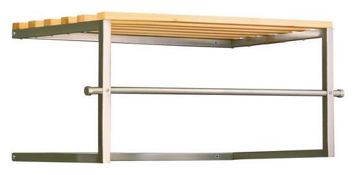 WANDGARDEROBE Kiefer Edelstahlfarben - Edelstahlfarben, Design, Holz/Metall (66/72/32/37cm)
