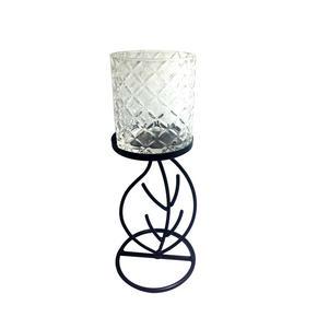 VÄRMELJUSHÅLLARE - klar/svart, Basics, metall/glas (10/25/10cm) - Ambia Home