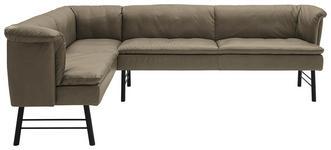 ECKBANK 160/190 cm  in Anthrazit, Grau - Anthrazit/Grau, KONVENTIONELL, Leder/Metall (160/190cm) - Valnatura