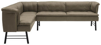 ECKBANK 168/244 cm  in Anthrazit, Taupe  - Taupe/Anthrazit, KONVENTIONELL, Leder/Metall (168/244cm) - Valnatura