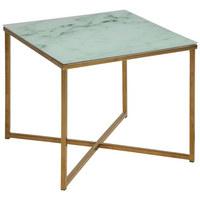 COUCHTISCH in Glas, Metall 50/50/42 cm - Messingfarben/Weiß, Design, Glas/Metall (50/50/42cm) - Ambia Home