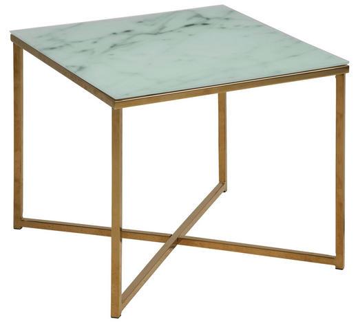 COUCHTISCH in Metall, Glas 50/50/42 cm   - Messingfarben/Weiß, Design, Glas/Metall (50/50/42cm) - Ambia Home