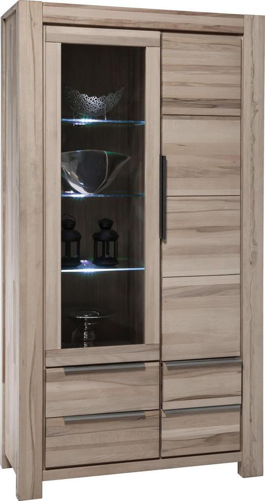 VITRINE Wildeiche massiv Eichefarben - Edelstahlfarben/Eichefarben, LIFESTYLE, Glas/Holz (110/200/45cm) - Carryhome