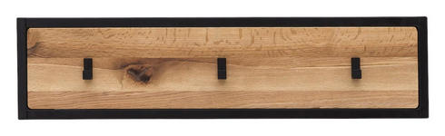 GARDEROBENLEISTE - Eichefarben/Schwarz, Natur, Holz/Metall (80/20/3cm) - Linea Natura