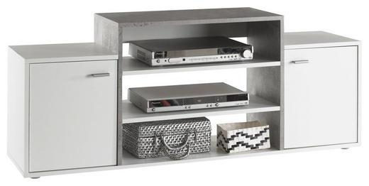 TV-ELEMENT Grau, Weiß - Silberfarben/Alufarben, MODERN, Holzwerkstoff/Kunststoff (138/56/36cm) - Carryhome