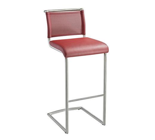 BARHOCKER in Metall, Textil Rot, Edelstahlfarben  - Edelstahlfarben/Rot, Design, Textil/Metall (44/105/53cm) - Dieter Knoll