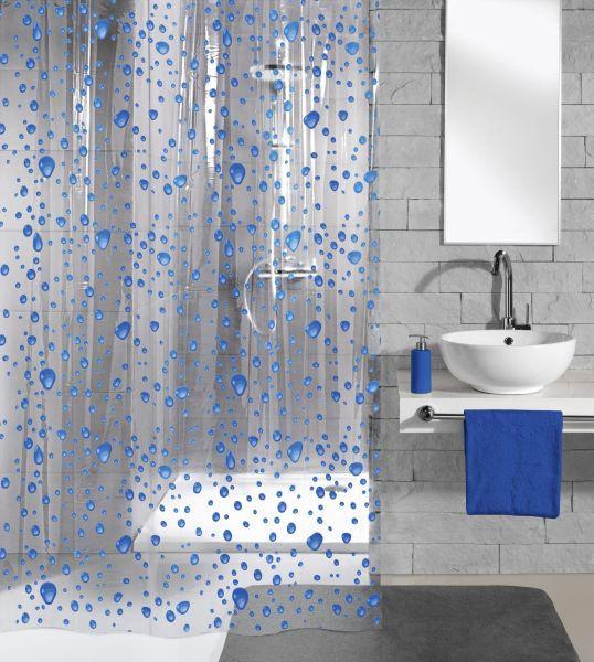 ZAVJESA ZA TUŠ - prozirno/plava, Konvencionalno, plastika (180/200cm) - KLEINE WOLKE
