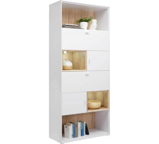 REGAL in 90/213/40 cm Weiß, Eichefarben  - Eichefarben/Alufarben, Design, Holzwerkstoff/Metall (90/213/40cm) - Hom`in