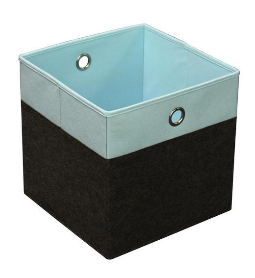 FALTBOX Karton, Metall, Textil Anthrazit, Hellblau - Anthrazit/Hellblau, Design, Karton/Textil (32/32/32cm) - Carryhome
