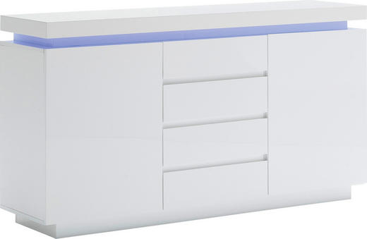 SIDEBOARD Hochglanz, lackiert Weiß - Weiß, Design, Holzwerkstoff (150/81/40cm)