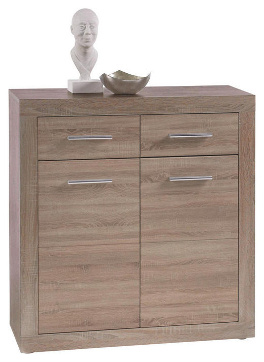 KOMMODE Sonoma Eiche - Silberfarben/Alufarben, Design, Holz/Kunststoff (82/89/37cm) - Boxxx
