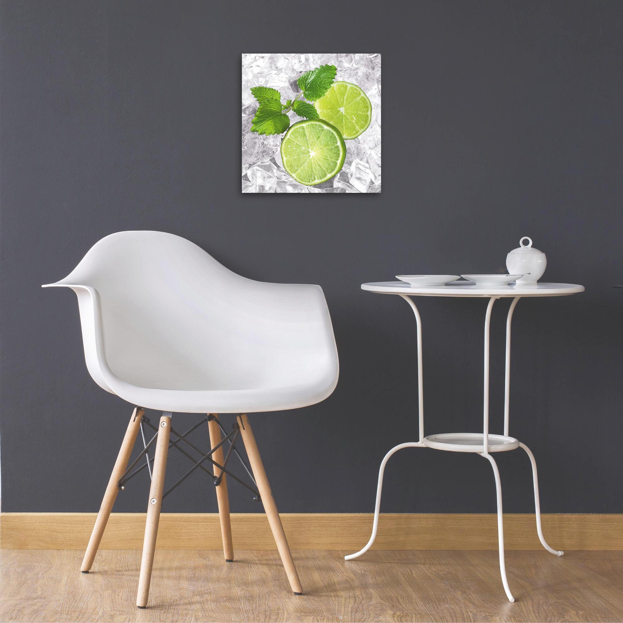 "Eiswürfel, Essen & Trinken Glasbild ""Lemon on ice"" - Multicolor, Basics, Glas (30/30cm) - EUROGRAPHICS"