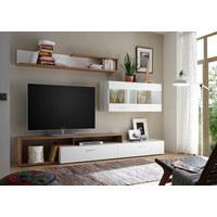 REGAL ZA DNEVNI BORAVAK - bijela/boje hrasta, Moderno, staklo/drvni materijal (265/192/42cm) - Ti`me