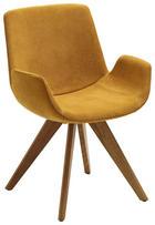 STUHL Webstoff Eichefarben, Gelb - Eichefarben/Gelb, Design, Holz/Textil (63/86/57cm) - Valdera