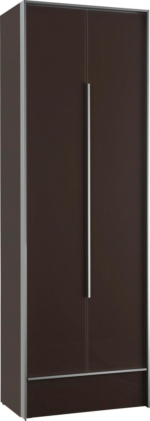 GARDEROBENSCHRANK - Alufarben/Braun, Design, Glas/Holzwerkstoff (63/189/38cm) - Dieter Knoll